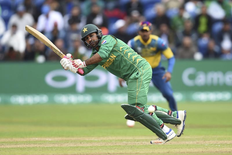 Pakistan's Sarfraz Ahmed in action during the ICC Champions Trophy, Group B cricket match between Pakistan and Sri Lanka, at the Cardiff Stadium, Cardiff, Wales, on Monday June 12, 2017. Photo: Joe Giddens/PA via AP