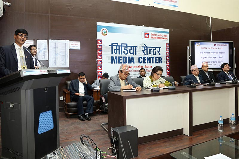 Chief Election Commissioner Ayodhee Prasad Yadhav interacting with election monitoring team leaders at the Election Commission on Tuesday, June 13, 2017. Photo: RSS