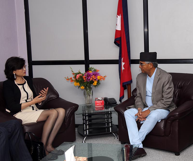 Chinese Ambassador to Nepal Yu Hong (left) holding talks with Prime Minister Sher Bahadur Deuba at the Office of Prime Minister and Council of Ministers in Singha Durbar, Kathmandu, on Friday, June 16, 2017. Photo: RSS