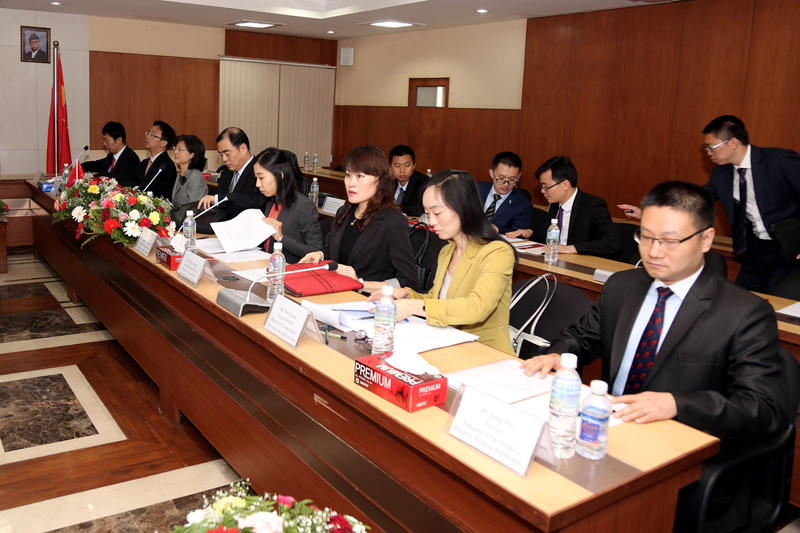 The Chinese delegation attends the 11th meeting of the Diplomatic Consultation Mechanism, being held in Kathmandu, on Tuesday, June 20, 2017. Photo: RSS