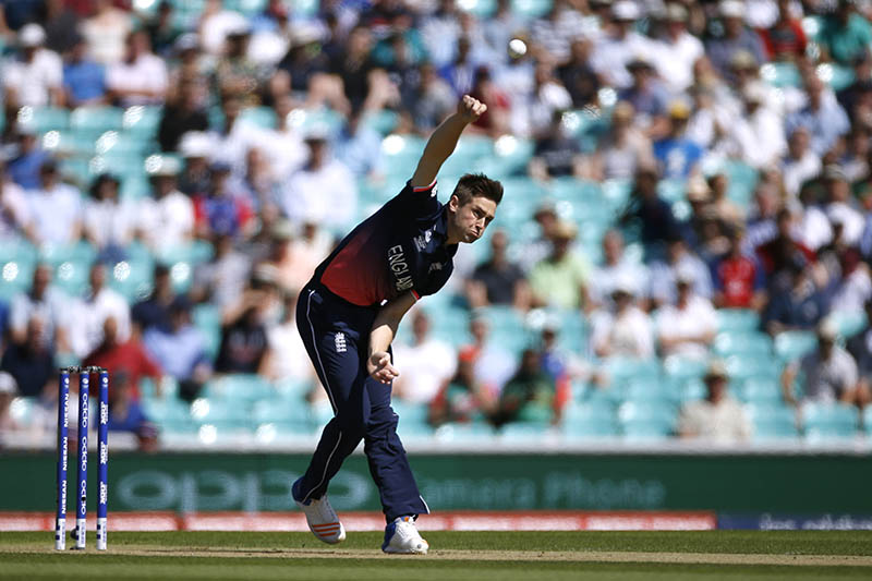 England's Chris Woakes in action. Photo: Reuters