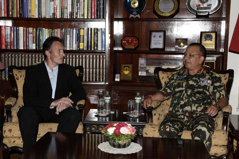 Ambassador of Australia to Nepal Peter Budd and the Chief of Nepal Army Staff Rajendra Chhetri hold a meeting at the Nepal Army Headquarters in Bhadrakali, Kathmandu, on Wednesday, June 14, 2017. Photo: NA Headquarters