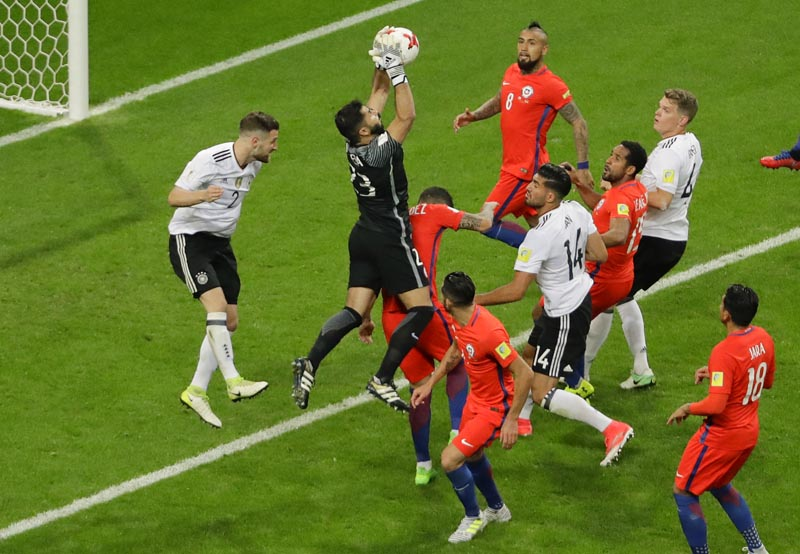 Chile goalkeeper Johnny Herrera grabs the ball during the Confederations Cup, Group B soccer match between Germany and Chile, at the Kazan Arena, Russia, on Thursday, June 22, 2017. Photo: AP