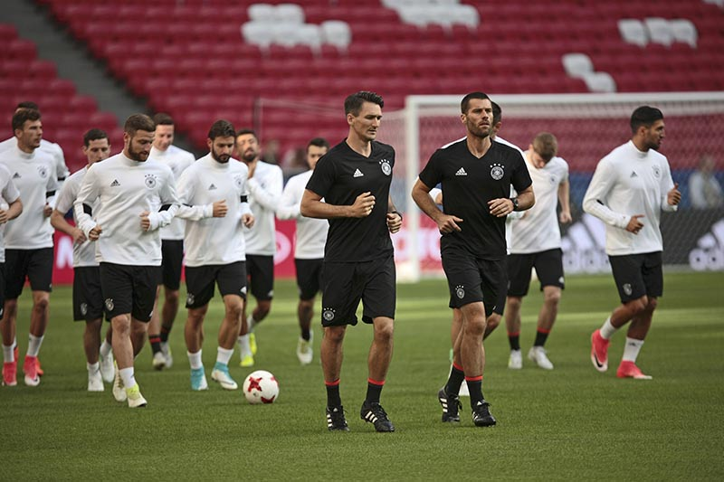 Germany's players attend a training session at the Kazan Arena in Kazan, Russia, on Wednesday, June 21, 2017. Photo: AP