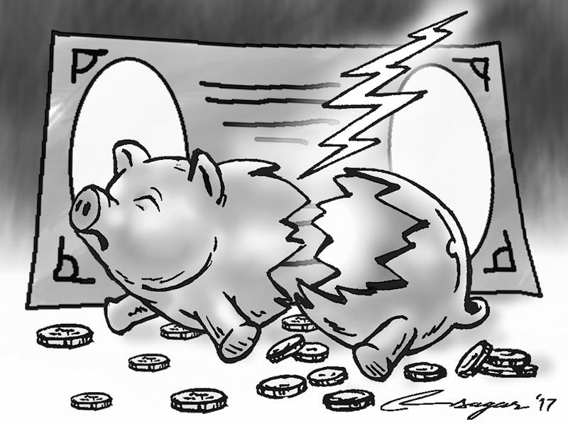 Crashed piggy bank. Illustration: Ratna Sagar Shrestha/THT