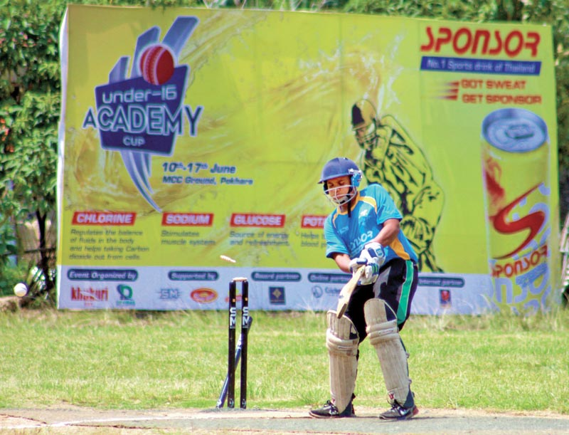 Roshan Neupane of Pokhara Cricket Academy watches his stumps rattled during the Sponsor U-16 Academy Cup match against Rock-XI in Pokhara on Saturday.