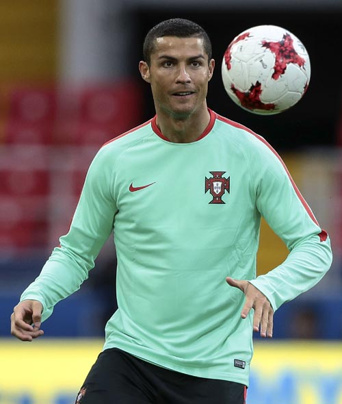 Portugal's Cristiano Ronaldo attends a training session at the Spartak Stadium in Moscow, Russia, onTuesday, June 20, 2017. Photo: AP