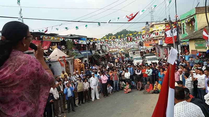 Disgruntled leaders and cadres of the Nepali Congress organising a protest assembly,  accusing the party leadership of favouritism  in the distribution of election tickets for the upcoming civic polls, in Bagkhor, Dadeldhura district, on Wednesday, June 14, 2017. Photo: THT