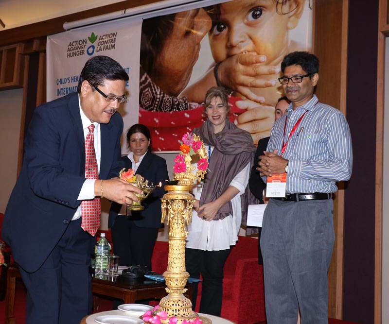 Director General of the Department of Child Health at the Ministry of Health, Rajendra Lal Panta inaugurating a two-day international conference on Child Health and Development on June 8, 2017. Photo: RSS