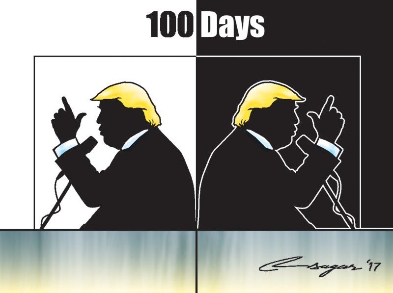 Donald Trump's 100 days. Illustration: Ratna Sagar Shrestha/THT