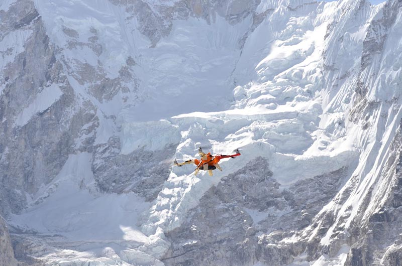 A drone flight test being conducted at Kala Patthar (5,638.8 metre) near Mt Everest, on Friday, June 9, 2017. Photo: THT