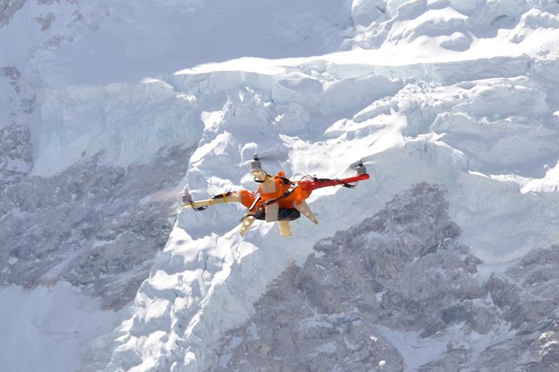 Drone test flight at Kala Patthar near Mt Everest. Photo Courtesy : Michael Kronmiller
