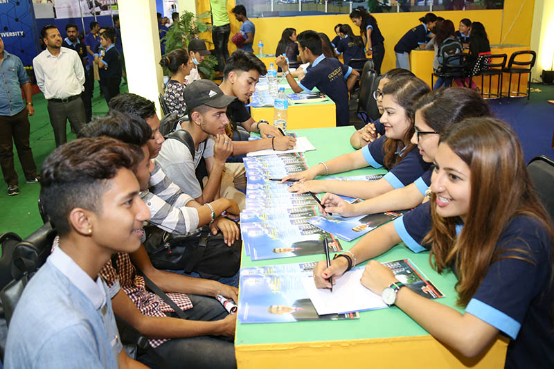 Students are being given consultations about abroad studies during a Education Fair in Bhrikutimandap, Kathmandu, on Thursday, June 1, 2017. Photo: RSS