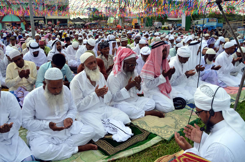 Muslims offer prayers on the occasion of Eid al-Fitr, at a mosque in Chhapkaiya, Birgunj Metropolitan City of Parsa district on Monday, June 26, 2017. Photo: Ram Sarraf/THT
