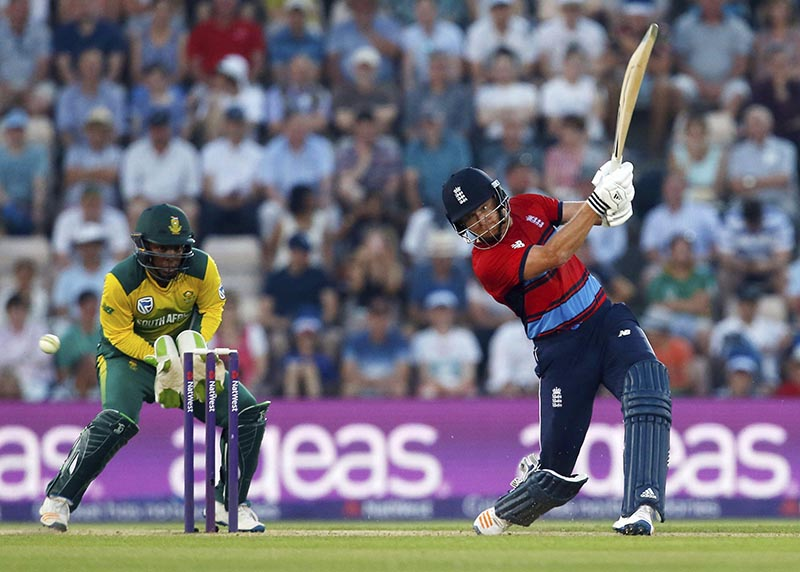 England's Jonny Bairstow bats during the T20 Blast cricket match between England and South Africa at the Ageas Bowl, Southampton, England, on Wednesday, June 21, 2017. Photo: Paul Harding/PA via AP