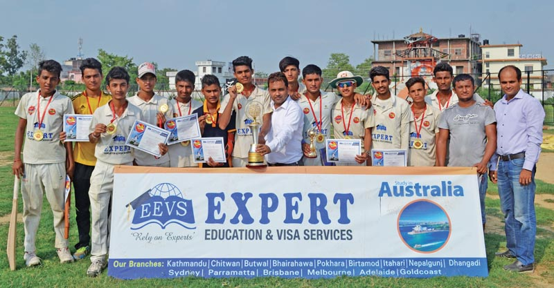 Anirudhha HS School team members and officials celebrate with the trophy after the Expert School Cricket League at the Siddhartha Stadium in Bhairahawa, on Thursday. Photo: THT