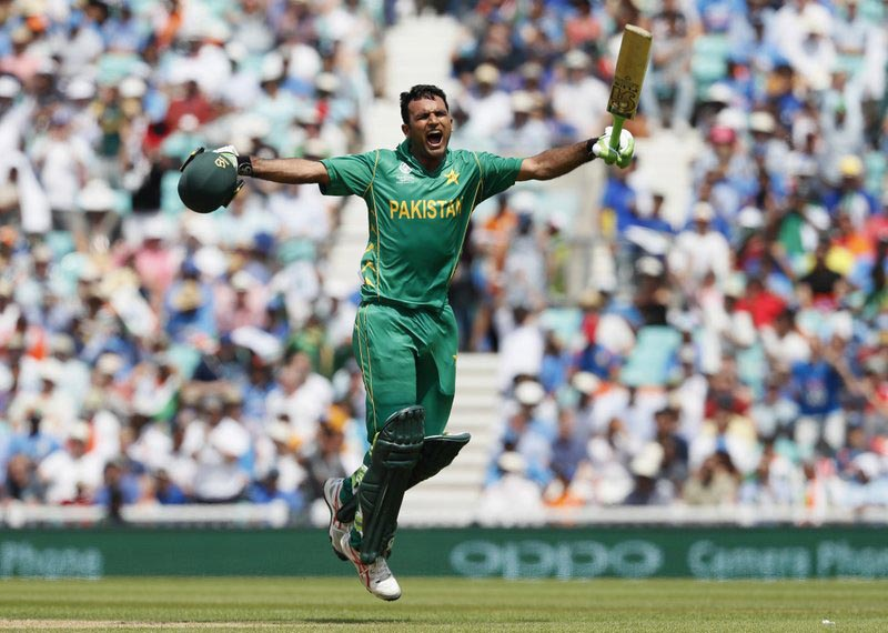 Pakistan batsman Fakhar Zaman celebrates after scoring a century during the ICC Champions Trophy final between Pakistan and India at the Oval in London, Sunday, June 18, 2017. Photo: AP