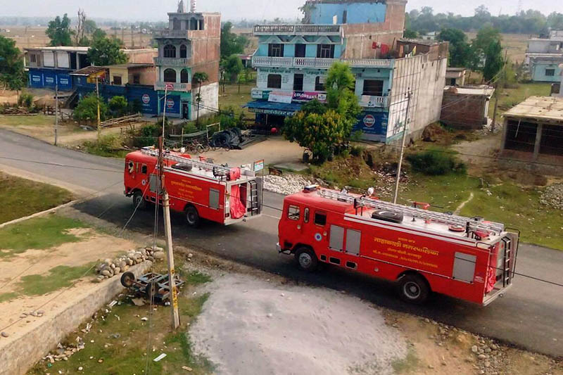 FILE - Two new fire engines of Kanchanpur district, as captured on Friday, June 2, 2017. Photo: RSS