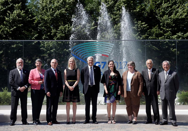 Environment ministers from the G7 group of industrialised nations pose for family photo during a meeting in Bologna, Italy, on June 11, 2017.    Photo: Reuters