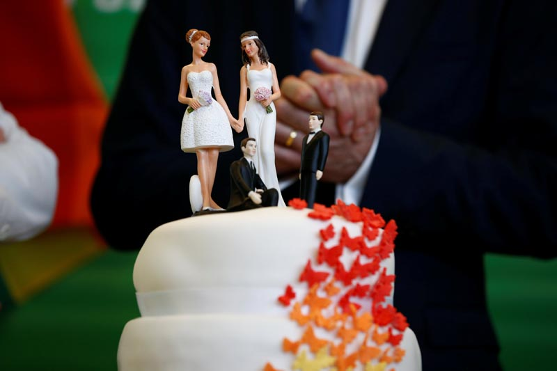 A cake is seen as Germany's environmental party Die Gruenen (The Greens) celebrate after a session of the lower house of parliament Bundestag voted on legalising same-sex marriage, in Berlin, Germany on June 30, 2017. Photo: Reuters