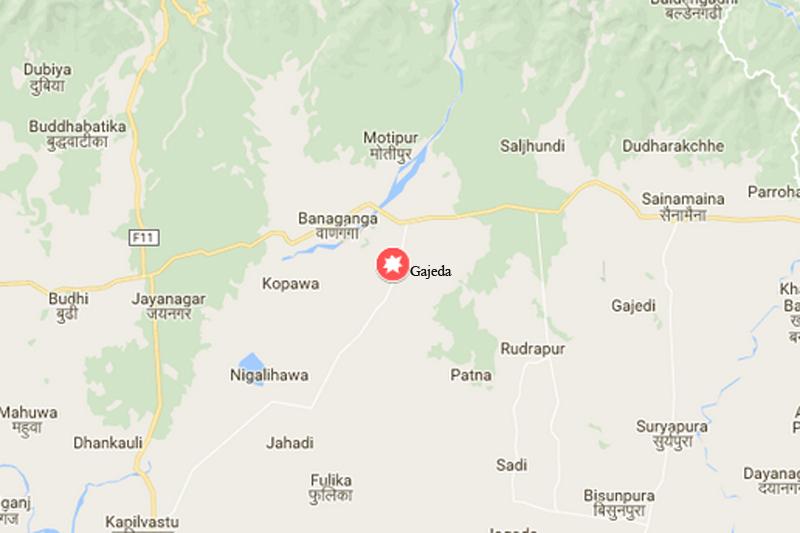Gajeda of Kapilvastu dsitrict. Source: Google maps