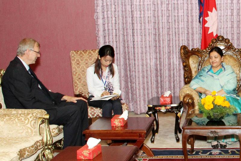 German envoy Matthias Meyer calls on President Bidya Devi Bhandari at Sheetal Niwas, Kathmandu, on Thursday, June 1, 2017. Courtesy: President's Office