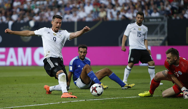 Germany's Sandro Wagner scores their third goal. Photo: Reuters