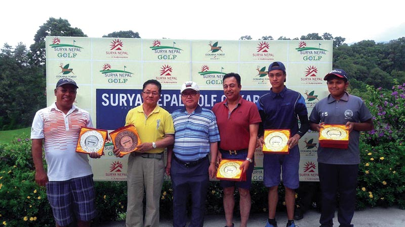 Winners of the Surya Nepal Gokarna Monthly Medal with South Korean Ambassador Park Young Sik in Kathmandu, on Saturday.