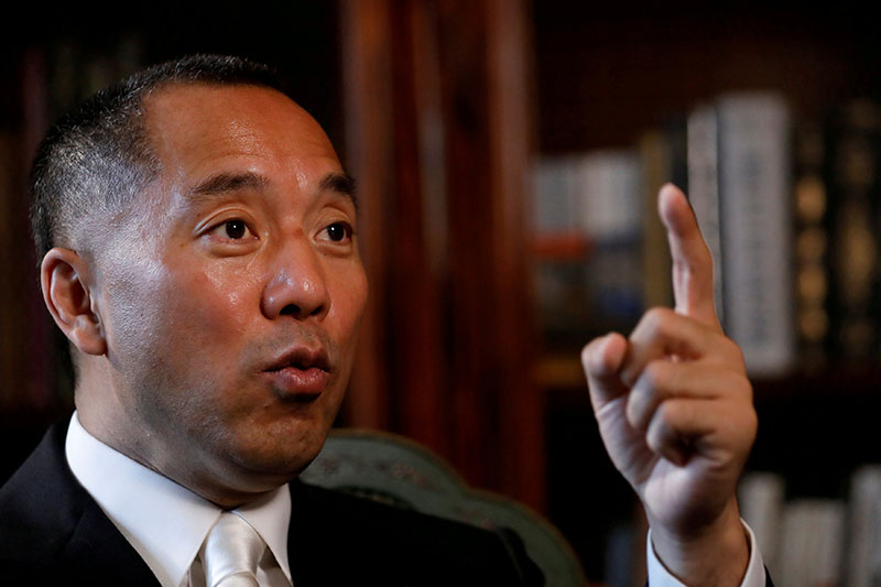 File - Billionaire businessman Guo Wengui speaks during an interview in New York City, U.S., April 30, 2017. Photo: Reuters