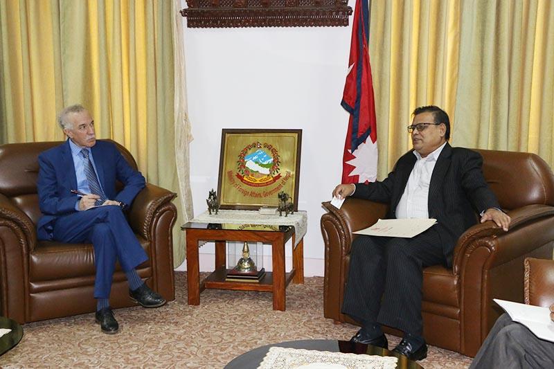 Algerian envoy to Nepal Hamza Yahia-Cherif meeting Deputy Prime Minister Krishna Bahadur Mahara, in Kathmandu, on Friday, June 23, 2017. Photo: RSS