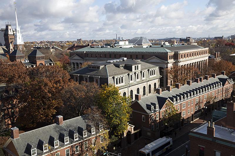 Overviews of Harvard Yard Memorial Church, Memorial Hall and Widener Library. Photo: Harvard University