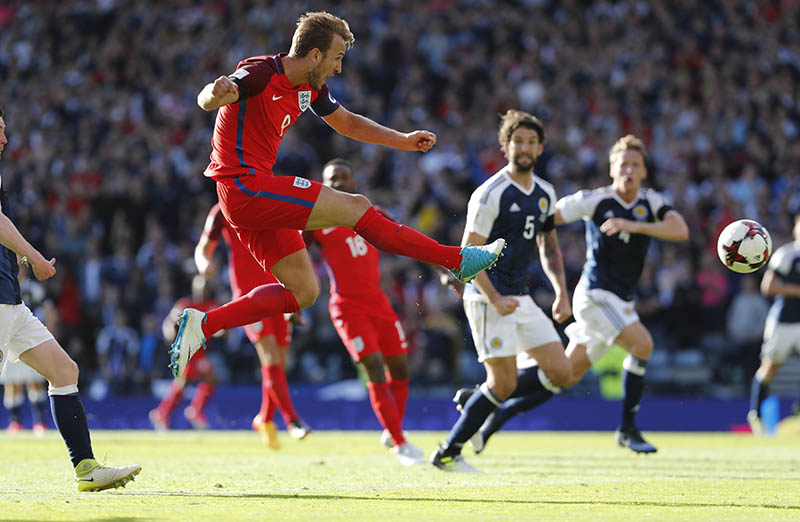 England's Harry Kane scores their second goal. Photo: Reuters