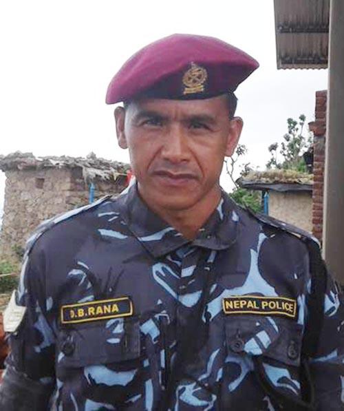 Head constable Durga Bahadur Ranamagar at Ambas polling centre in Dang, on Wednesday, June 28 2017. Photo: THT