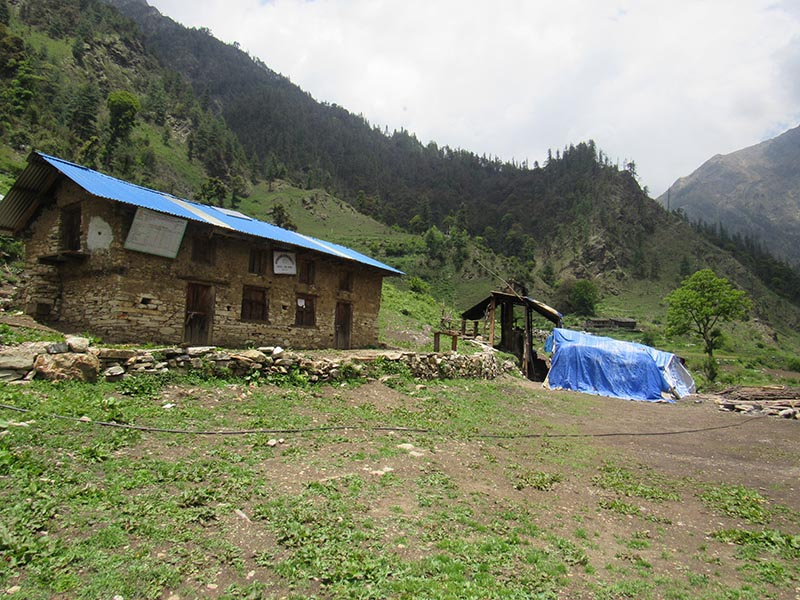 A herbs processing centre is seen on the premises of Himal Bhakti Primary School, in Himali Rural Municipality, Bajura, on Sunday, June 11, 217. Photo: THT