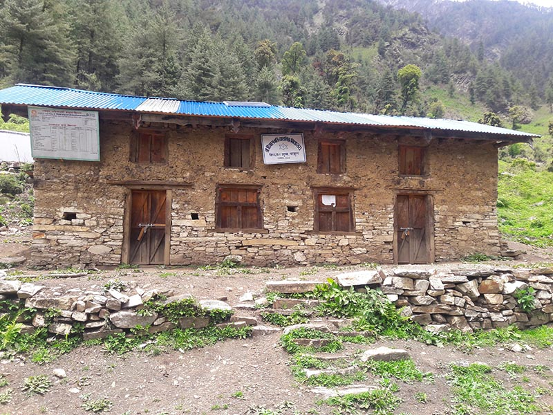 Himalbhakti Primary School, which has been closed since the beginning of the new session due to teachersu2019 absenteeism, in Himali Rural Municipality of Bajura district, on June 1, 2017. Photo: THT