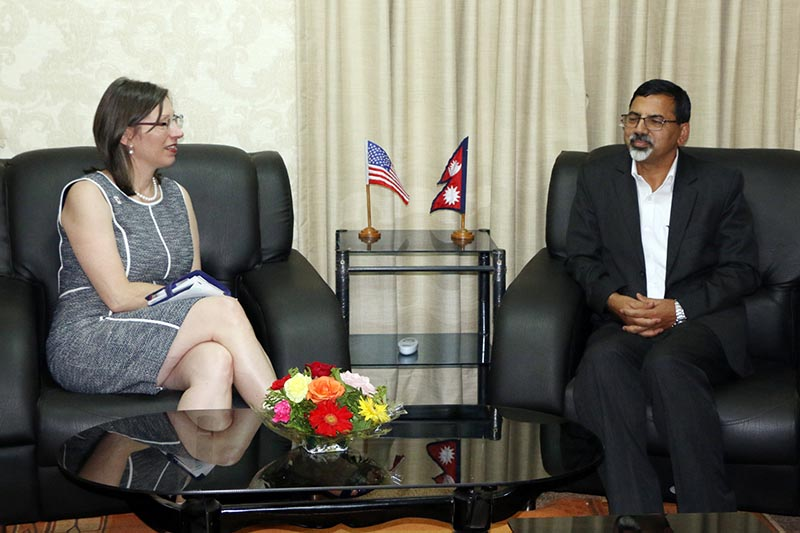 Minister for Home Affairs Janardan Sharma and American Ambassador to Nepal Alaina Teplitz at the Ministry at Singhadurbar on June 13, 2017. Photo: RSS
