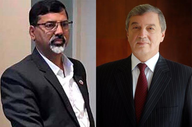 Home Minister Janardan Sharma and Russian Ambassador to Nepal Andrei D Budnik