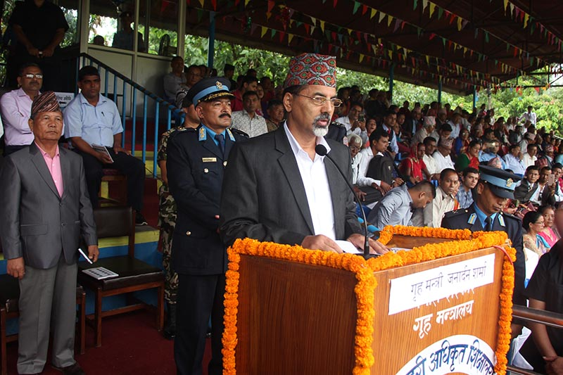 Home Minister Ganardan Sharma speaking at the convocation ceremony of basic training for the 173 batch of Assistant Sub Inspector of Police operated by the Junior Police Officer College, Bharatpur, on June 21, 2017. Photo: RSS