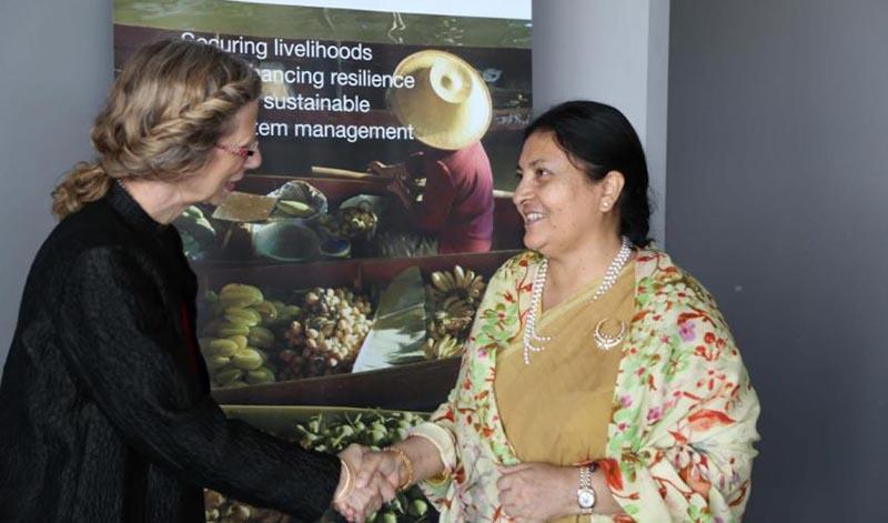 IUCN Director General Inger Andersen greets President Bidya Devi Bhandari during her visit to IUCN Headquarters in Gland, Switzerland, on Friday, June 16, 2017. Photo courtesy: IUCN/Mark Gnadt