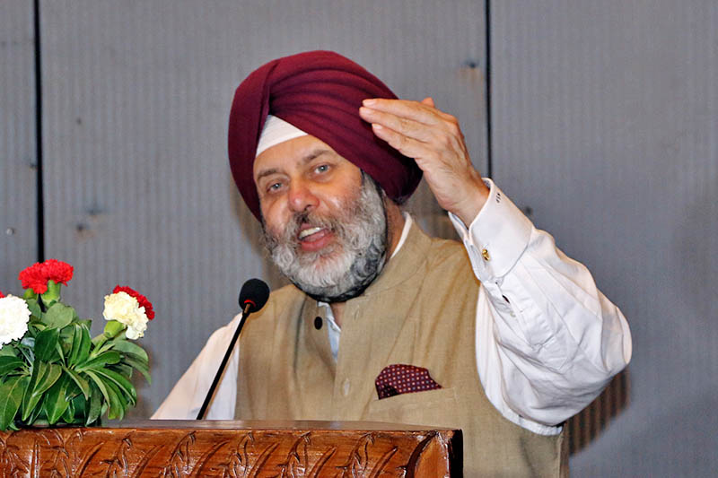 Indian Ambassador to Nepal Manjeev Singh Puri speaks during a press meet organised by the Ministry of Education to celebrate the 3rd International Yoga Day at Yak and Yeti Hotel in Kathmandu, on Monday, June 19, 2017. Photo: RSS