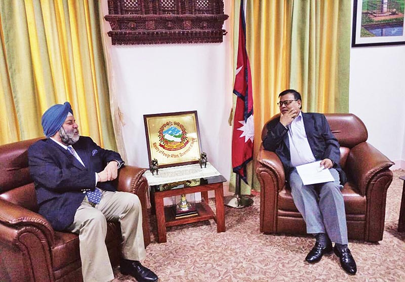Indian Ambassador to Nepal Manjeev Singh Puri holding a meeting with Deputy Prime Minister and Minister of Foreign Affairs Krishna Bahadur Mahara, in Kathmandu, on Wednesday, June 14, 2017. Photo: THT