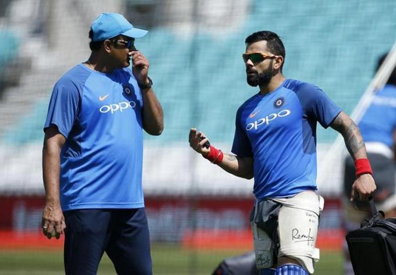 India's Head Coach Anil Kumble and Virat Kohli during nets, on June 17, 2017. Photo: Action Images via Reuters