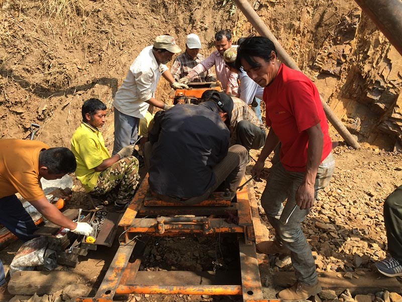 Dhaubadi Iron prospect drilling carried out by Department of Mines and Geology. Photo Courtsey: DMG