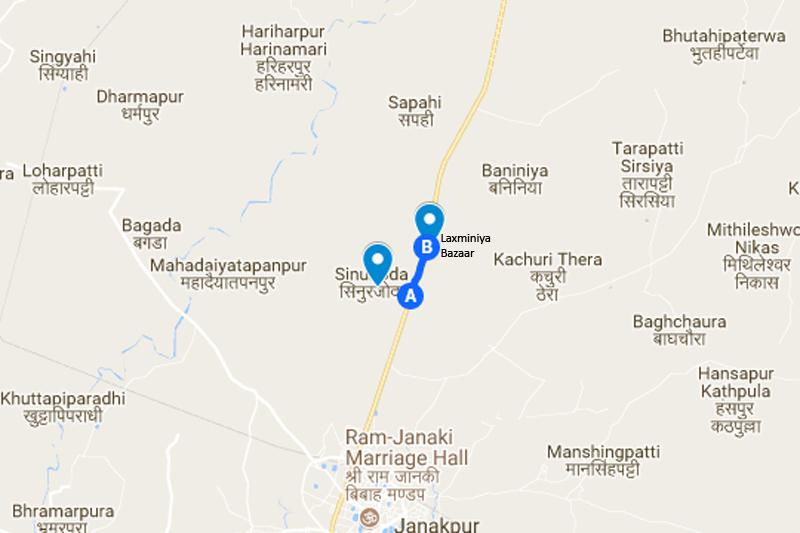 Sinurjoda to Lazminiyaa Bazaar in Janakpur district. Source: Google