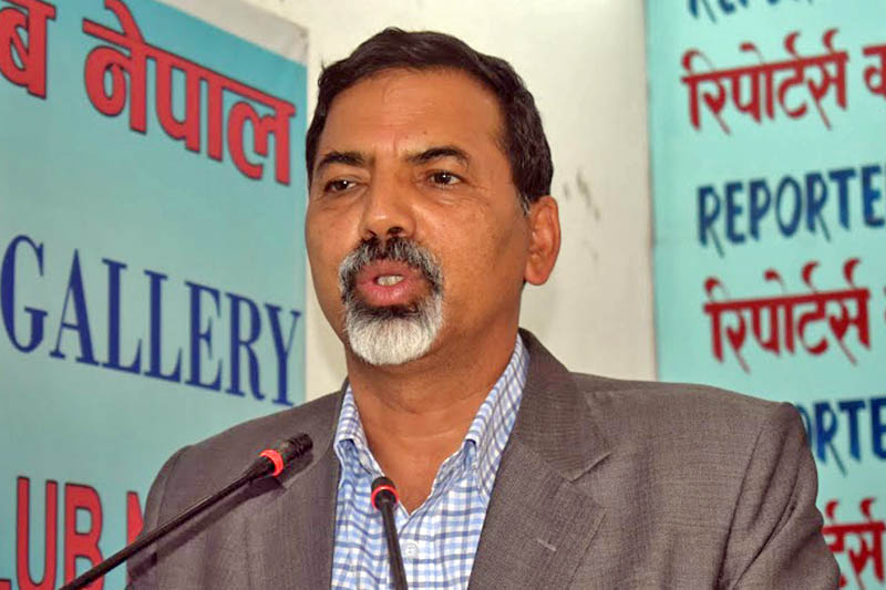 Minister for Home Affairs Janardan Sharma speaks at an interaction programme ogranised by the Reporters Club in Kathmandu, on Monday, June 26, 2017. Courtesy: Reporters Club