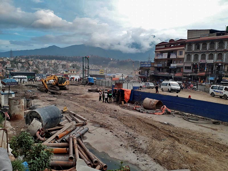 Construction of the under-pass road being carried out at the Kalanki Chowk, in Kathmandu, on Friday, June 30, 2017. Photo: Sandeep Sen