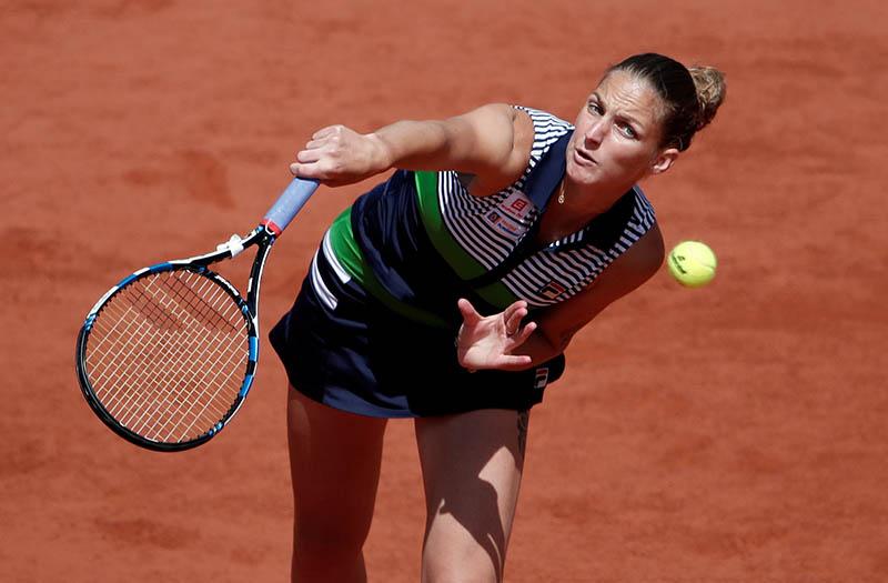 Czech Republic's Karolina Pliskova in action during her quarter final match against France's Caroline Garcia. Photo: Reuters