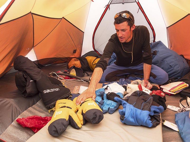 Kilian Jornet from Spain prepares his climb of Mount Everest in 2017. Photo: Lymbus via AP)