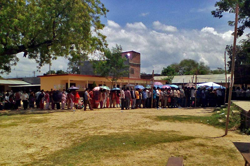 Voters queued up to cast their votes in the second phase of election in the polling center at GyanJyoti Higher Secondary School, Chapargaudi of Kohalpur Municipality-12 in Banke district, Province 5, on Wednesday, June 28, 2017. Photo courtesy : Santosh Shahi