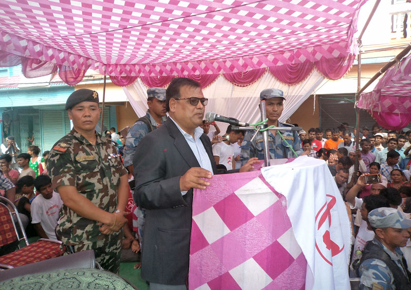 Deputy Prime Minister and Minister for Foreign Affairs Krishna Bahadur Mahara addresses a function organised by CPN Maoist Centre in Dang district on Sunday, June 19, 2017. Photo: RSS